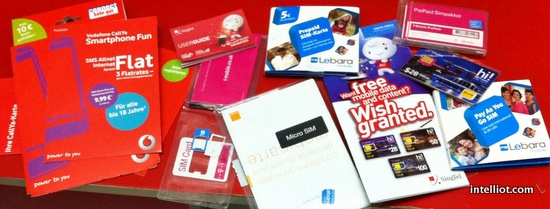 Packaging from some of the SIM cards I purchased during my recent travels